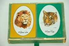 Vintage Lion Asian Tiger King Congress Playing Cards Cel-U-Tone Finish New NOS