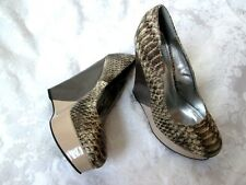 BAMBOO 'ROCCA' 6.5M Snake Embossed Upper Two Tone High Wedge Platform HEELS NEW