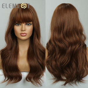 Dark Brown Body Wave Hair Wigs for Women Long Wavy Synthetic Daily Party Wig