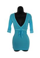 Hollister Blue Pink White V-neck Tie waist Blouse Top Size Small Medium