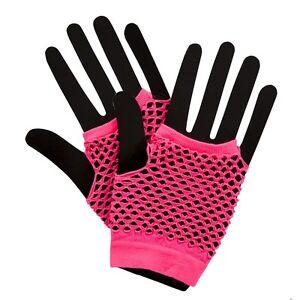Neon Colour Fishnet Short Gloves 80's Punk Festival Rave Fancy Dress Accessories