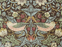 "WILLIAM MORRIS CURTAIN FABRIC ""Strawberry Thief"" 3.2 METRES CHOCOLATE & SLATE"