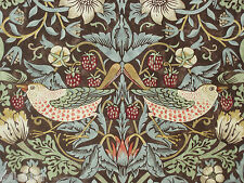 "WILLIAM MORRIS CURTAIN FABRIC ""Strawberry Thief"" 3 METRES CHOCOLATE & SLATE"