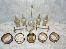 Antique Silver Plated Salt & Pepper Pots Napkin Rings & Horse Finial Bottle Cork