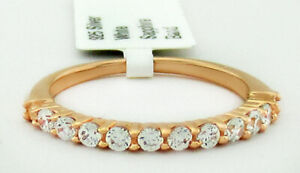 WHITE SAPPHIRES HALF ETERNITY RING .925 Silver (ROSE) NWT SIZE 6.25