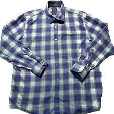 Untuckit Mens Blue Green Plaid Long Sleeve Button Up Casual Dress Shirt Size 2XL