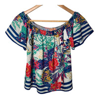 Flying Tomato Womens Short Sleeve Top Scoop Neck Blouse Shirt Floral Size Small