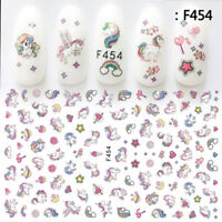 UNICORN RAINBOW ART KIDS FAKE NAIL STICKERS FOR GIRLS DECALS KITS TRANSFERS SET