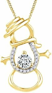 Simulated Birthstone Snowman Pendant W/ Prong Set Yellow Gold Over Silver