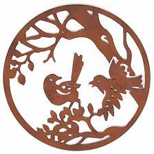 Metal Wall Art Birds Tree Rust Round Hanging Sculpture Rusty Home Garden 99 cm