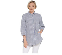 Joan Rivers 3/4 Sleeve Seersucker Shirt w/ Back Button Detail Grey, X-Small