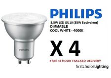 4 x Philips 3.5W (35W) Low Energy DIMMABLE GU10 LED Spot Lamps Bulbs Cool White