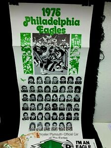 1976 Phila Eagles Lot Poster Stickers Schedules Picture Etc.