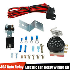 Adjustable Electric 12V Radiator Fan Thermostat Control Relay Wire Kit Car Truck