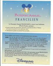 pass Disneyland PARIS calendrier PASSEPORT ANNUEL FRANCILIEN 2000-2001 TTB