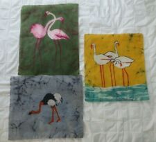 Lot Vtg Japan Batik Fabric Art Prints 12x14 Wading Birds Ostrich Flamingo Egret