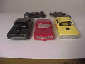 Lot #46 - Three Resin HO Slot Car Bodies with Two Chassis