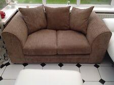 2 Seater Sofa Large Corduroy Fabric Light Brown Colour