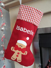 Personalised Name Luxury Gingerbread Man Christmas Stocking Red Lined Xmas Sock
