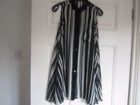 River Island black and white striped chiffon style top, size 6, exc condition