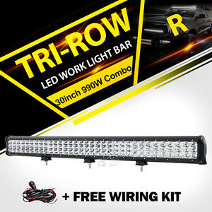 Tri Row  990W 31inch LED Light Bar Spot Flood SUV For Jeep Truck UTE ATV 30""