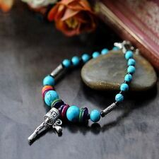 Tibetan Turquoise Silver Prayer Wheel Good Luck-Amulet Bracelet/Mantra/FREE P&P