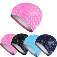Women/Men's Waterproof PU Swim Cap Ear Protection Swimming Hat