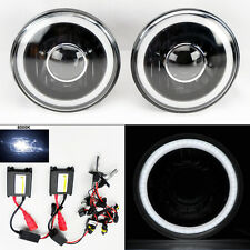 "7"" Round 8000K HID Xenon H4 Black Projector Glass CCFL Halo Headlights Pair"