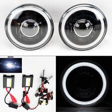 "7"" Round 8000K HID Xenon H4 Black Projector Glass CCFL Halo Headlights Pair"