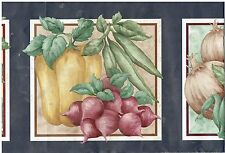 GREEN BEANS EGGPLANT ONIONS TOMATOES AND CORN IN FRAMES FARM Wallpaper bordeR