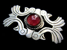 Old Mexico Art Glass Birds Sterling Silver Bird Pin Brooch Mexican Iguala EML