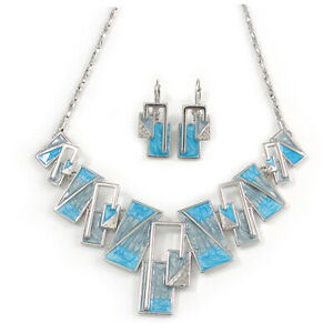 Light Blue/ Grey Enamel Geometric Necklace and Drop Earrings In Rhodium Plating