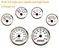 6 Gauge Set 200KMH Speedometer Tacho Fuel Temp Volt Oil Red LED For Cars Marine