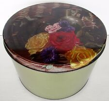 "Vintage Cookie Tin Floral Rose Litho Lid Maurice Lenell Chicago 10"" D  1960's"