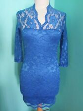 BLUE OVER LAID LACE PATTERN DRESS 3/4 SLEEVE SIZE SMALL ABOVE THE KNEE/SHORT