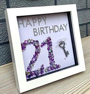 """21st Birthday Gift, Box Frame 6x6"""" Key, 21 Purple Sparkly Novelty Present"""