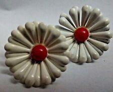 Vintage Red White Enamel Daisy Flower Earrings Clip Ons