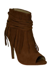 New Womens Open Toe Fringe Ankle Booties Boots Rust Size 7.5