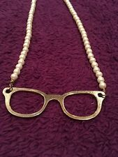 Faux Pearl, Gold Tone Glasses Pendant Long Bead Necklace