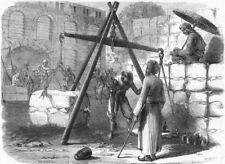 INDIA. Weighing cotton, Mumbai for English market, antique print, 1862