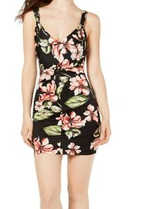 Guess Womens Sheath Dress Black Size XS Floral Ruched V-Neck Stretch $89 116