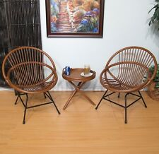 Rattan Chairs and Table Set of 3 (Walnut finish)