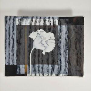 ANDRE RICHARD Gray & White Floral Soap Dish - vtg 80s Poppy Flower Ceramic Tray