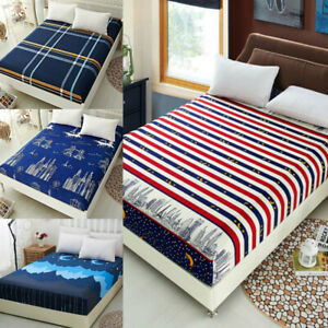Striped Plaid Pattern Fitted Bed Sheets Duvet Cover Queen King Size Home Textile