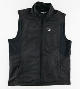Brooks Mens XL Windbreaker Vest Full Zip Vented Shelter Technology Media Pocket