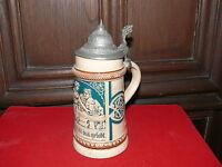 Krug Sammlerkrug Keramik mit Zinndeckel ca. 50 Jahre alt