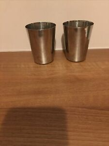 2 X Indian Stainless Steel Round Water Steel glass Size 8cm