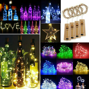Bottle Fairy String Lights Battery Cork Shaped Christmas Wedding Party 10 LED 1m