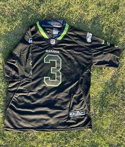 Seattle Seahawks Jersey Russell Wilson Jersey NFL Black Green Alternate Colorway
