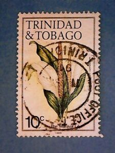 Trinidad & Tobago. QE2 1986 10c Flowers. SG687. Wmk Ww16 sideways. P14. Used.